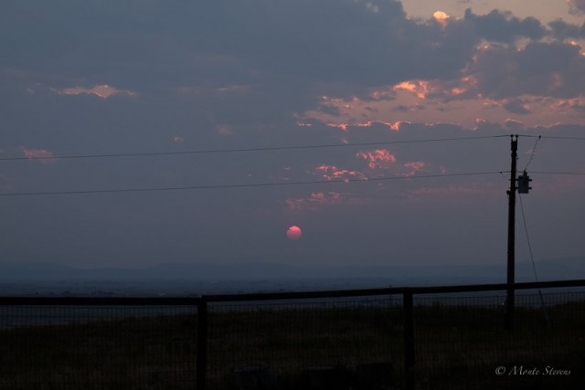 Smoky Sunset at the Prairie House
