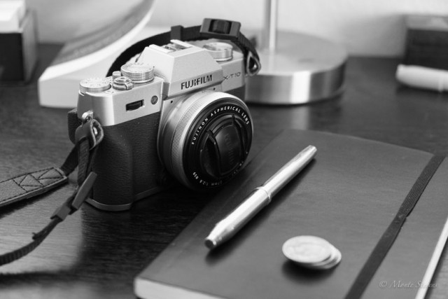 The X-T10 with 27mm f2.8 lens and my journal.