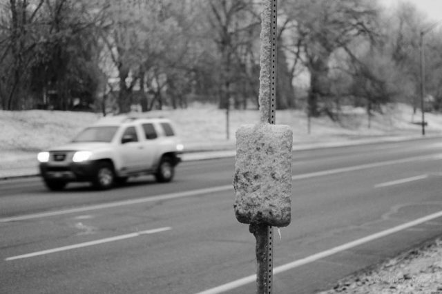 Cold Morning at the Bus Stop