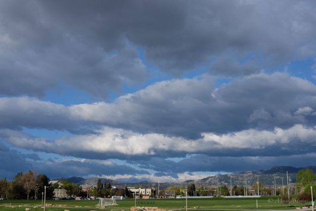 Looking west towards the mountains from the campus bus stop