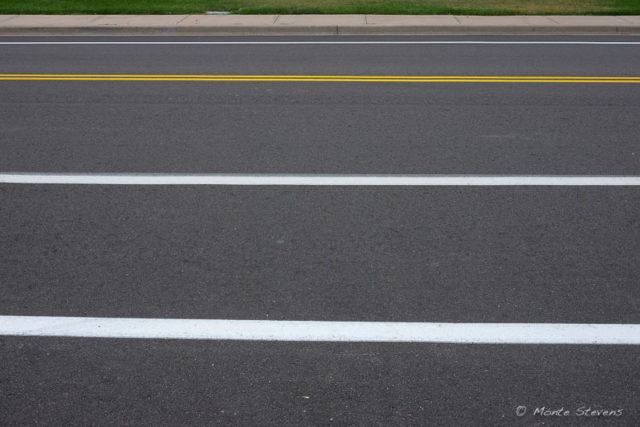 Newly painted lines on our street