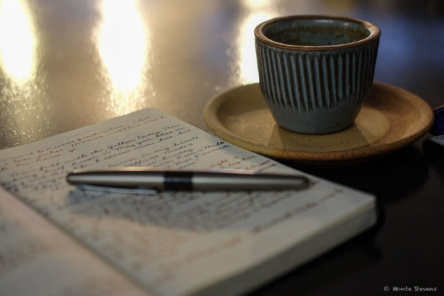 Morning mocha with my journal and fountain pen.